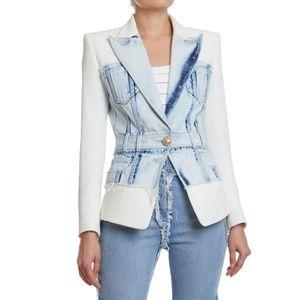 White Acid Denim Light Blue & Crepe Blazer Jacket
